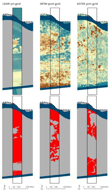 Terrain Elevation (Upper Image; The More Brownish, The Higher The Elevation) And Low Elevation Coastal Zone Area (Lower Image, LECZ Indicated In Red) For One Of The Strips.