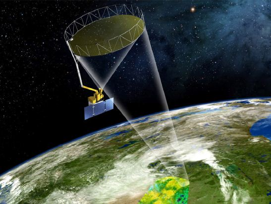 The Soil Moisture Active Passive (SMAP) observatory orbits the Earth pole-to-pole at 685km altitude. The instrument spins during orbit, allowing the coverage of a 1000km-wide swath. The system maps the global surface every two to three days.