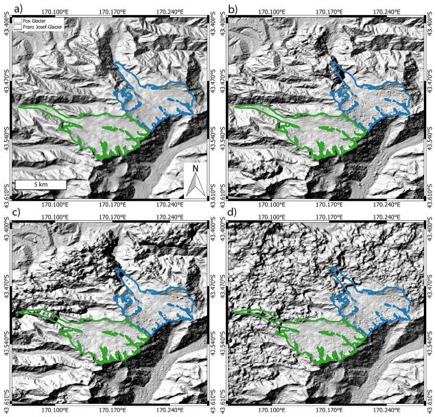 Different typical example ASTER DEMs over the study area. (a) ASTER GDEM2 features smooth terrain without outliers (b) ASTER DEM 2001/04/07 contains noticeable outliers over the glacier tongues, as do (c) ASTER DEM 2001/08/09 and (d) ASTER DEM 2014/02/24. The examples illustrate that any time series analysis has to be particularly robust against elevation outliers.
