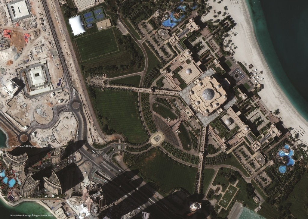 Emirates Palace courtesy of ©DigitalGlobe Inc, taken on 14th November 2014 by WorldView-3 satellite at a resolution of 30cm.