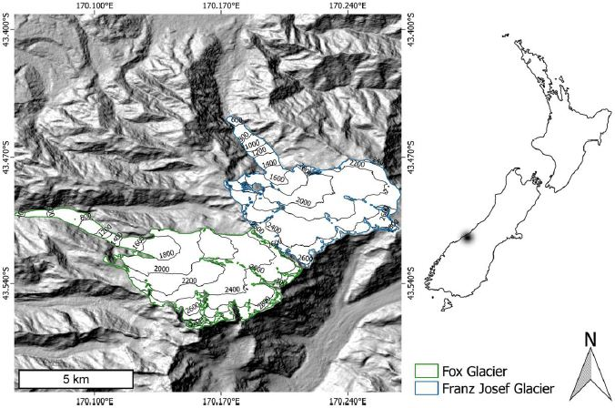 Study area. Shaded relief showing Fox Glacier and Franz Josef Glacier located in the Southern Alps, New Zealand. Glacier extents are from the Randolph Glacier Inventory