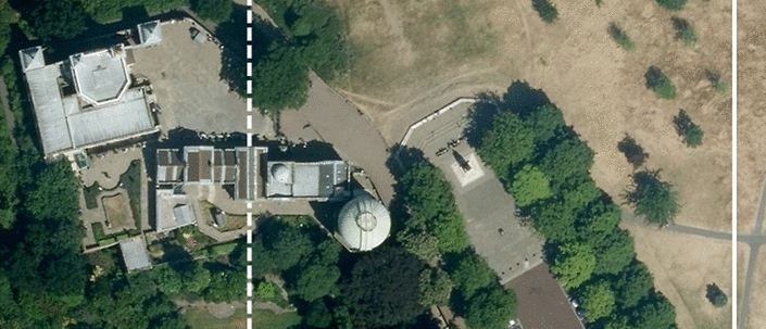 Royal Observatory of Greenwich. The Airy meridian (dotted line) and the ITRF zero meridian (solid line). Imagery 2014 Google Maps, Infoterra Ltd & Bluesky