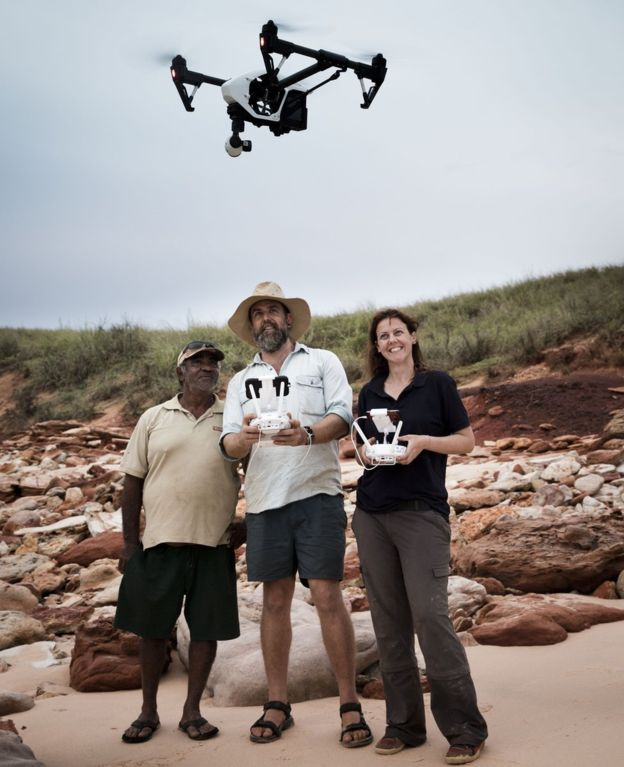 Dr Salisbury and colleagues can work out how the dinosaurs were moving by using the drones to view them from the air Credit: BBC/Damin Kelly