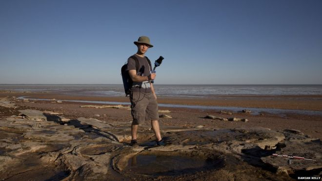 Scientists are using cutting-edge technology to map dinosaur tracks. Credit: BBC/Damian Kelly