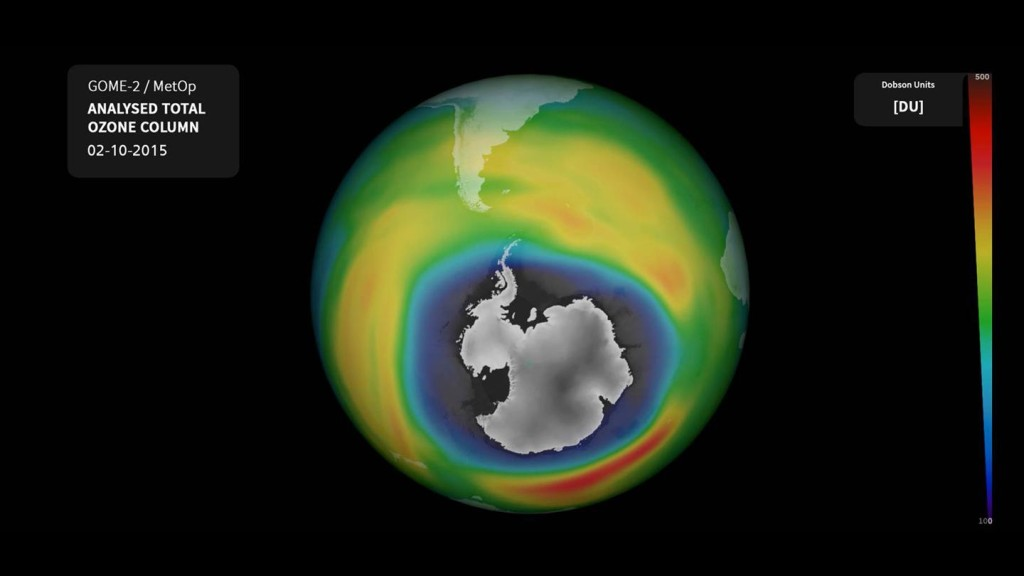 Ozone Hole in Early October 2015. Credit: DLR Press