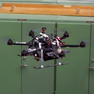 This quadrotor won't bump into those pipes because it built itself a 3-D map of the space using its onboard sensors and computer. Credit: MIT Technology Review