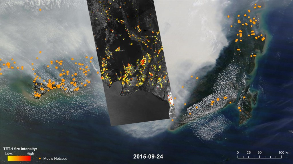 Image of Indonesia acquired by the TET satellite. Credit: DLR