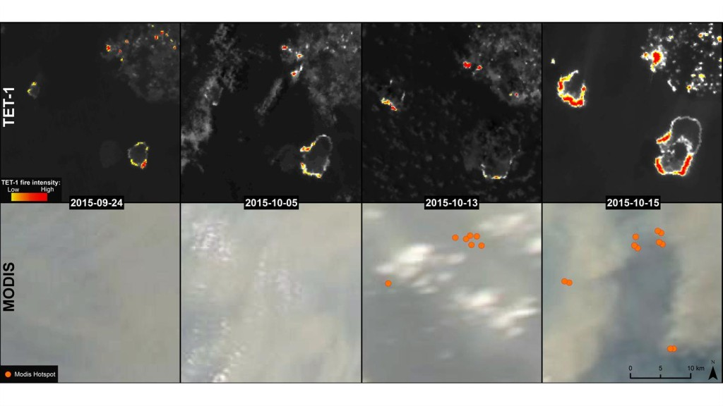 Time series images from TET and MODIS. Credit: DLR