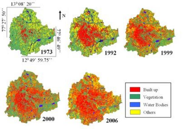 Temporal land use changes in Greater Bangalore