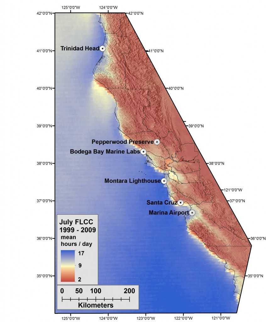 Map of central California coast showing the average amount of fog and low clouds present during the month of July over a period of 10 years. Areas of darkest blue over the ocean were covered by an average of 17 hours per day of fog and low clouds. Inland areas in darkest red were fogged in or covered by low clouds two hours or less per day, and the narrow band of yellow along the coast was blanketed by fog and low clouds an average of nine hours per day during most Julys.