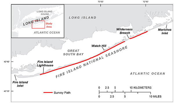 The June 11, 2014, terrestrial lidar beach survey includes all 35 kilometers of the Fire Island National Seashore at Fire Island, New York.