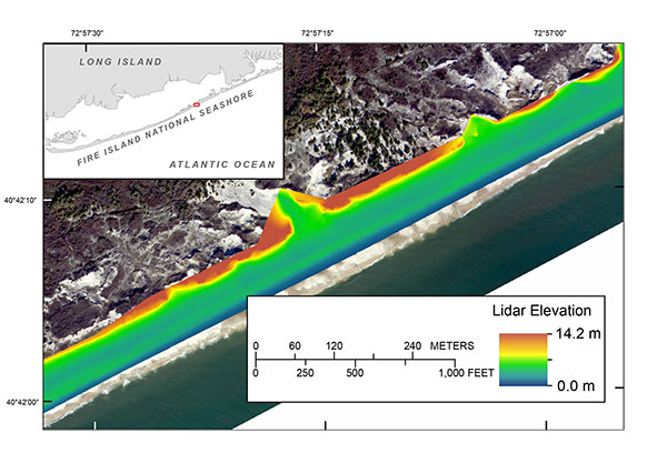 Processed terrestrial-based lidar digital elevation model (DEM) along the western boundary of Fire Island, New York. The red box on the inset indicates the map location.
