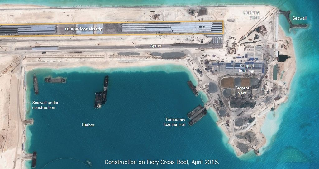 Construction on Fiery Cross Reef, April 2015. Credit: The Tribune