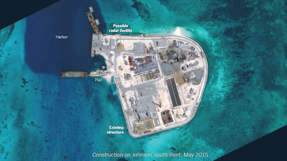 Construction on Johnson South Reef, May 2015. Credit: The Tribune