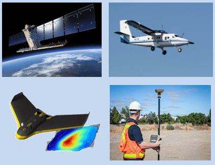 Data acquisition from satellite, aircraft, UAV (drone) and in the field. Credit: Copernicus
