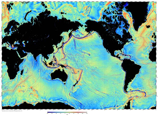 Global map of the variations in the pull of gravity derived from satellite radar altimetry. Credit: Scripps Institution of Oceanography