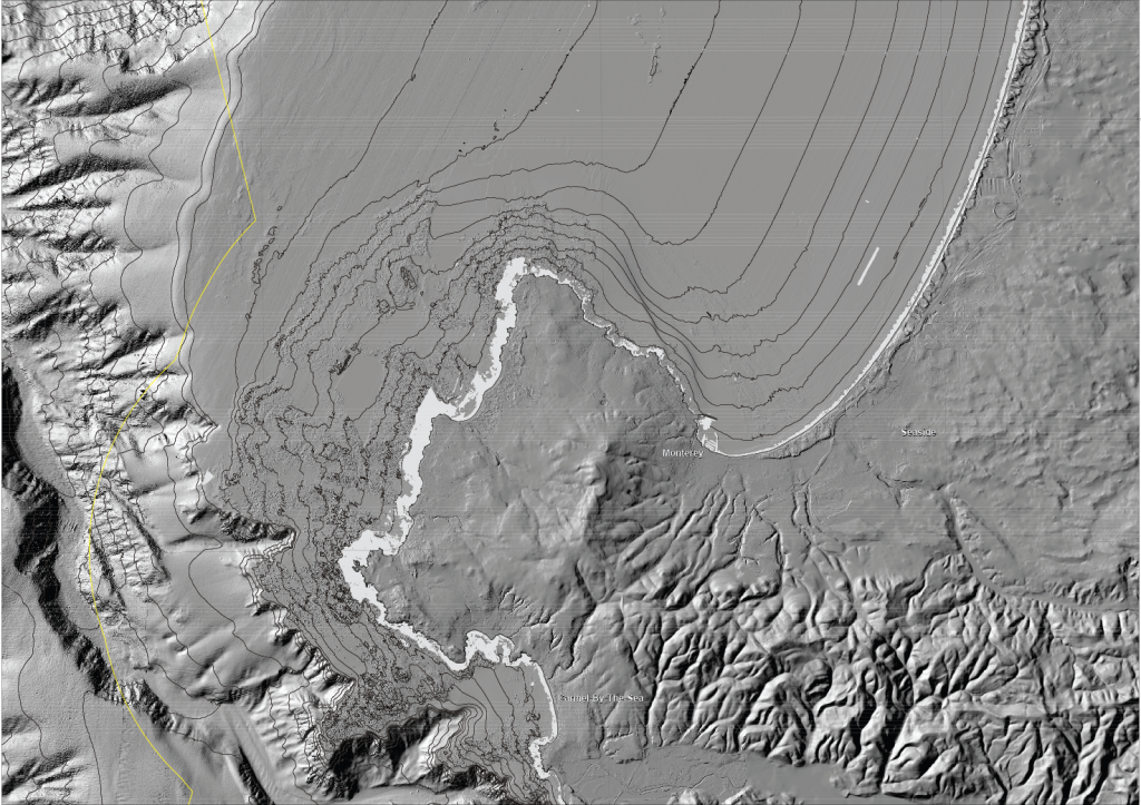 Monterey Peninsula onshore and offshore shaded-relief map