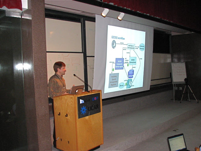 Doug Nebert presenting at a conference, expanding on his vision of National Spatial Dataset Infrastructure issues (undated photo).