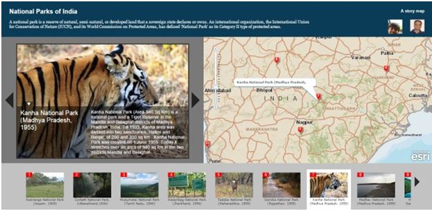 National Parks of India The Story Maps provides information about all the major national parks of India, in chronological order of the year it got declared as national park.