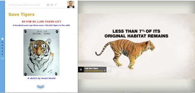 """SaveTigers The Story Map provides information on various """"Save Tigers"""" campaigns around the world."""