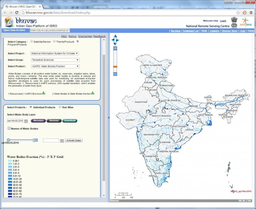 Snapshot of Water Bodies Fraction information available for download Credit: ISRO