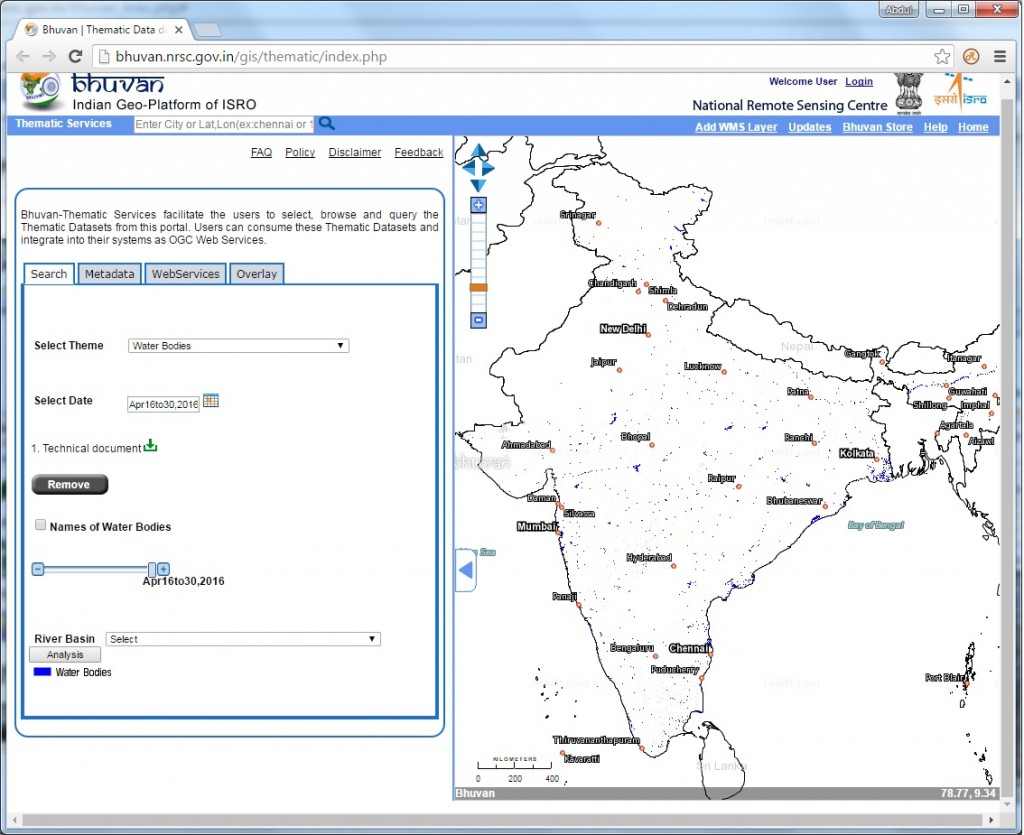 Snapshot of Water Spread Area information published in Bhuvan Credit: ISRO