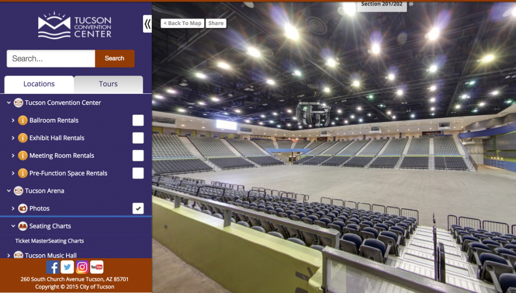 360 Degree Arena Seating Views – Tucson Convention Center