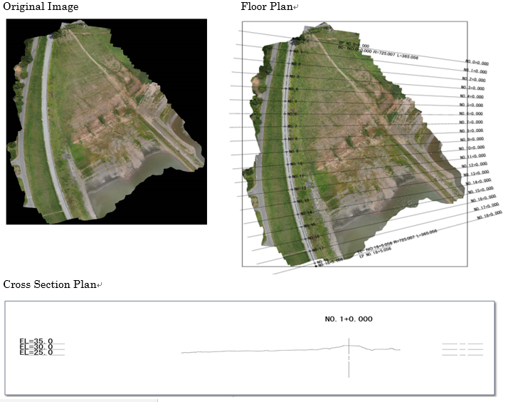 Graphical representations - floor plan and cross section plan. Credit: Terra Drone