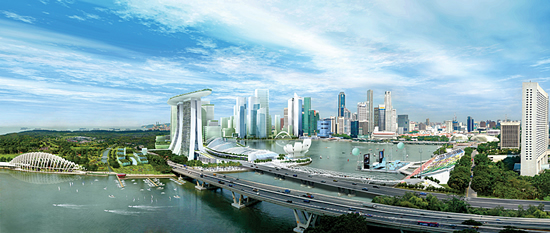 Artist's conception of the Marina Bay element of Singapore's Master Plan (courtesy: Urban Redevelopment Authority, Singapore).