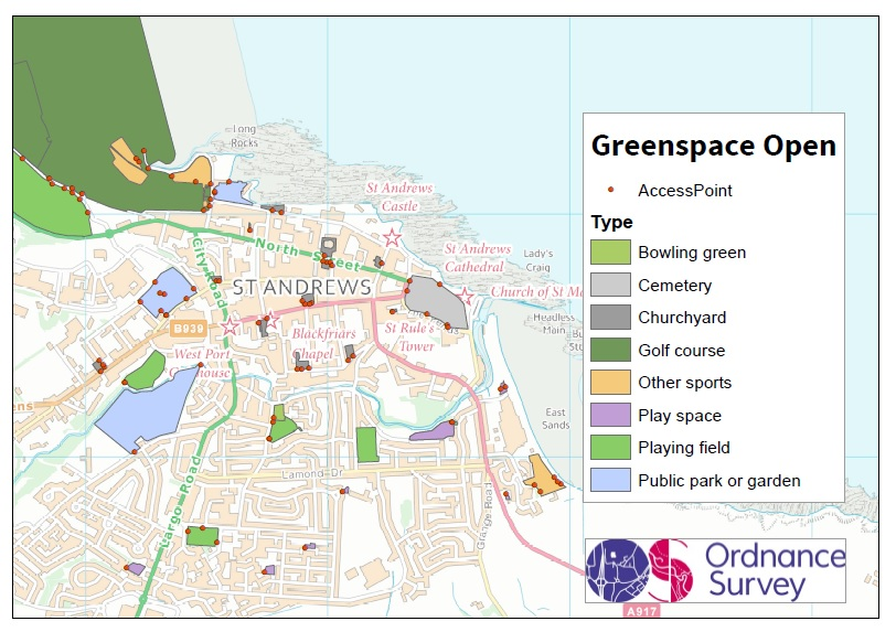 Greenspace Open extract of St Andrews. Credit: OS