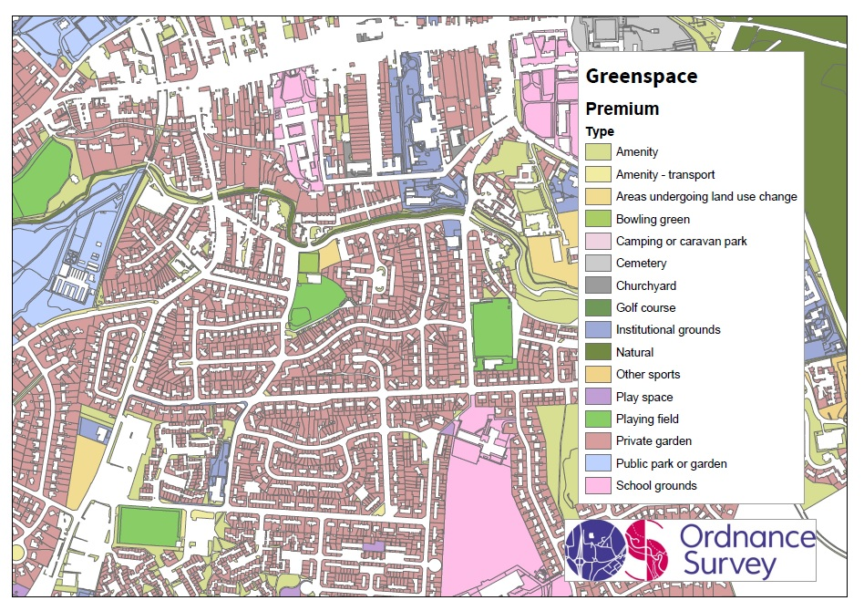 Greenspace Premium extract of St Andrews. Credit: OS