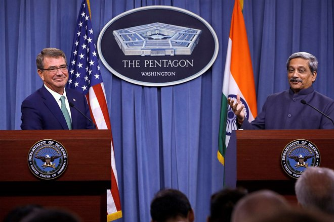 India and US have signed a logistics exchange pact, called Logistics Exchange Memorandum of Agreement or LEMOA (Defence Minister Manohar Parrikar and US Defense Secretary Ashton Carter) Credit: The Financial Express