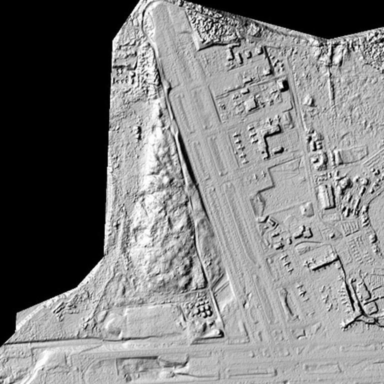 A digital elevation model of Anchorage, Alaska, shows planes parked off the runway of Ted Stevens International Airport. Better elevation maps can be used to quantify changes in sea level and monitor coastal erosion in order to identify buildings and critical infrastructure -- like airports -- at high risk of storm-surge damage, and to identify safe places to shelter when storms come.