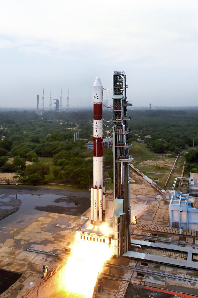 Panoromic View of PSLV-C35 at First Launch Pad - Take-off View