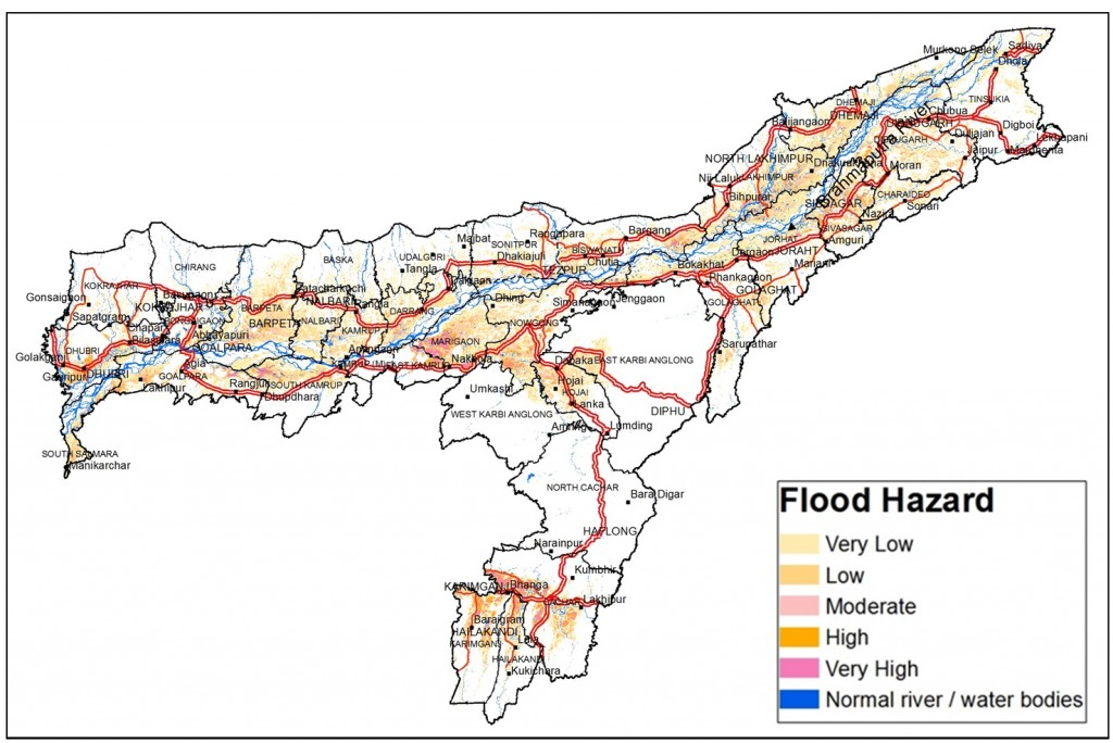 Flood hazard map of Assam (Different colours represent different hazard classes). Credit: ISRO