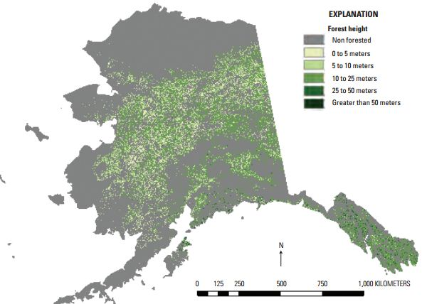 Figure 1. Landscape Fire and Resource Management Planning Tools (LANDFIRE) Program 2012 Alaska forest canopy height product reflecting revised legend. Shades of green indicate different forest height classes. Gray shading indicates areas of shrub lands, ice, snow, and water, among others.