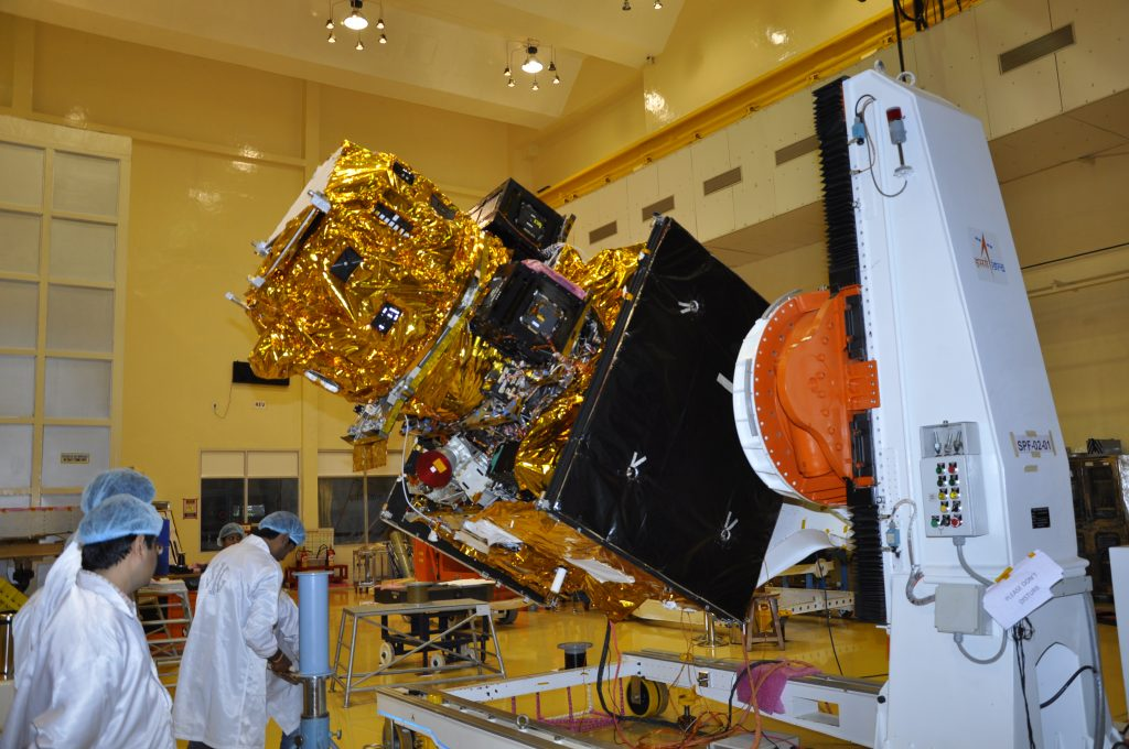 RESOURCESAT-2A in clean room during its integration. Credit: ISRO