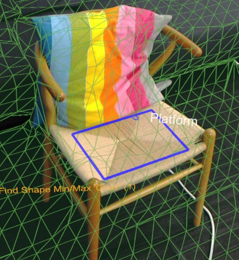The blue rectangle highlights the results of the chair shape query.