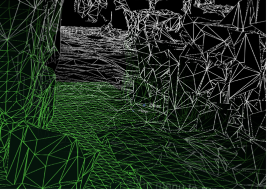 Spatial mapping mesh in white and understanding playspace mesh in green