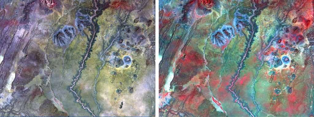 Remote Sensing to Detect Groundwater -Portions of two Landsat Thematic Mapper images of Northern Kenya, which have a spatial resolution of 30m. The first image was collected in January 2011 during very dry (drought) climate conditions; the second image was collected in December 2015 during very wet conditions. The images are near-infrared color composites, so green vegetation shows up in various shades of red and pink. One of the many applications of satellite image data is to detect, map and monitor change, which in this case shows the dry-green cycle of vegetation directly related to drought or wet conditions. Chavez and the team will use this type of information to help identify areas within the study sites where rainfall occurs, which could indicate possible sources of groundwater recharge. Credit: NAU News