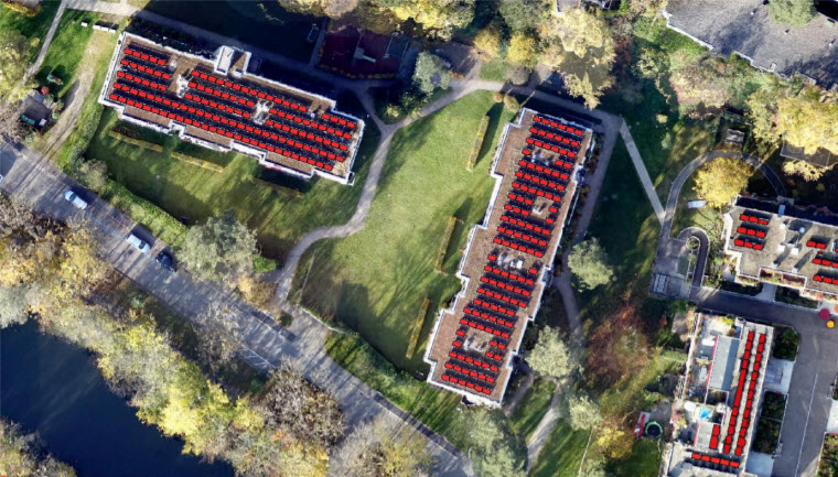 Wingtra UAV image (2 cm GSD) - automated extraction of roof solar panels (red)- Object Analyst workflow, Batch Processing