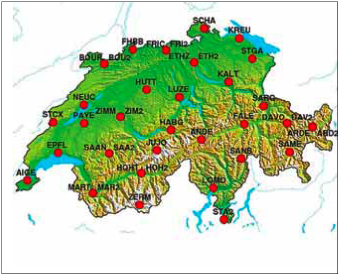 The Automated GNSS Network for Switzerland (AGNES) as of 2011