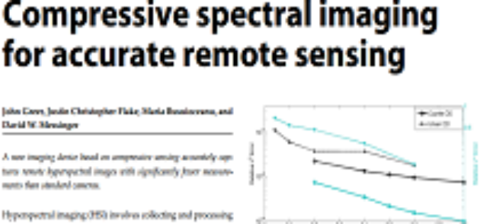Compressive Spectral Imaging for Accurate Remote Sensing  by John Greer et al.