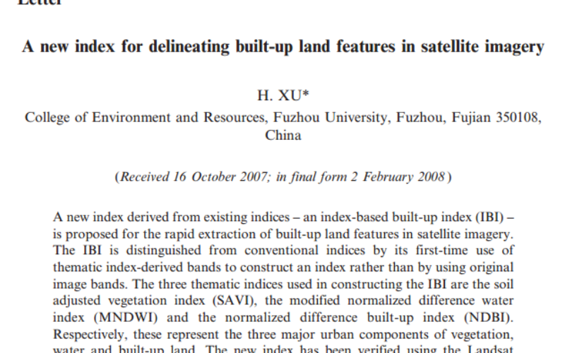A New Index for Delineating Built-up Land Features in Satellite Imagery