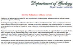 Spectral Reflectance of Land Covers by Department of Geology, Aligarh Muslim University