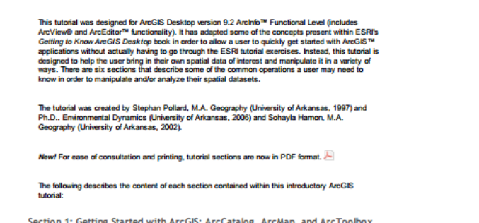 ArcGIS Desktop Version 9.2 ArcInfo™ Functional Level (Includes ArcView® and ArcEditor™ Functionality) Tutorial.