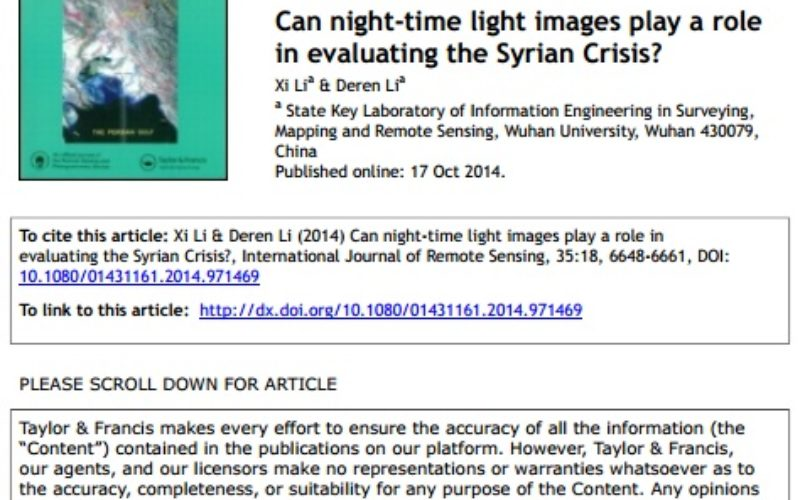 Can Night-time Light Images Play a Role in Evaluating the Syrian Crisis?