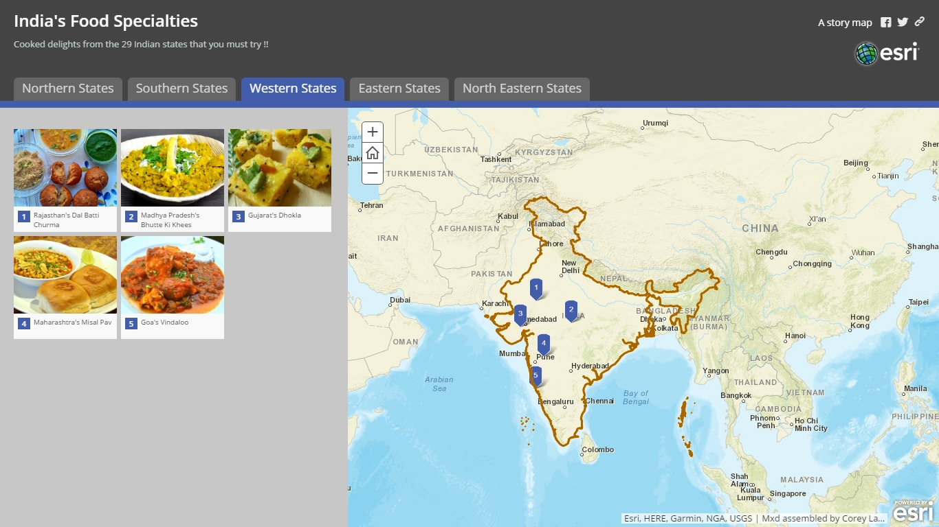 Story Map Food Specialties Of India Gis Resources