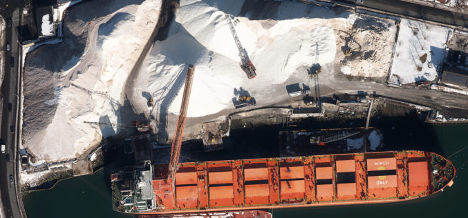 Col-East Inventories Salt Piles from the Air Each Winter  in Preparation for Snowy Weather