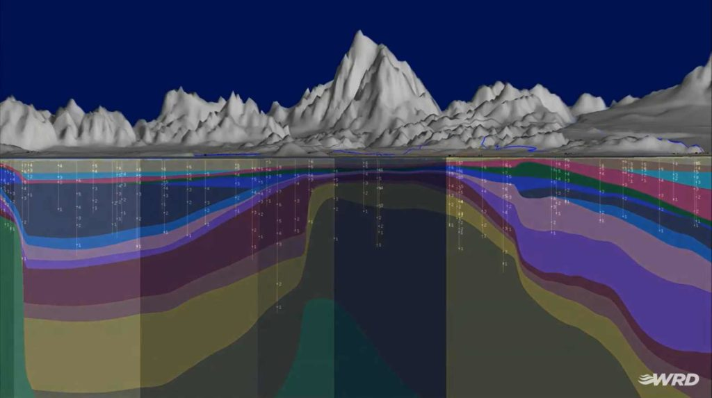 geologic and groundwater model of California's Central and West Coast Basins - created in Seequent's Leapfrog Works-Cloud-based solution
